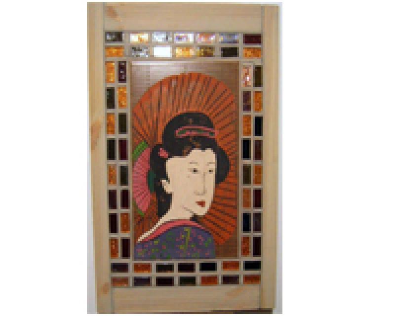 antik japán kerámia festmény :