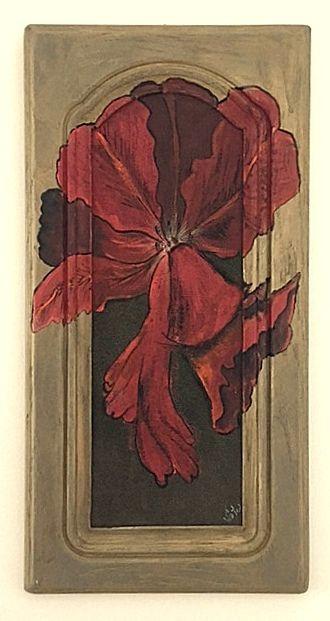 Pipacs fakeretben : kirobbanó pipacs virág antik fa keretben