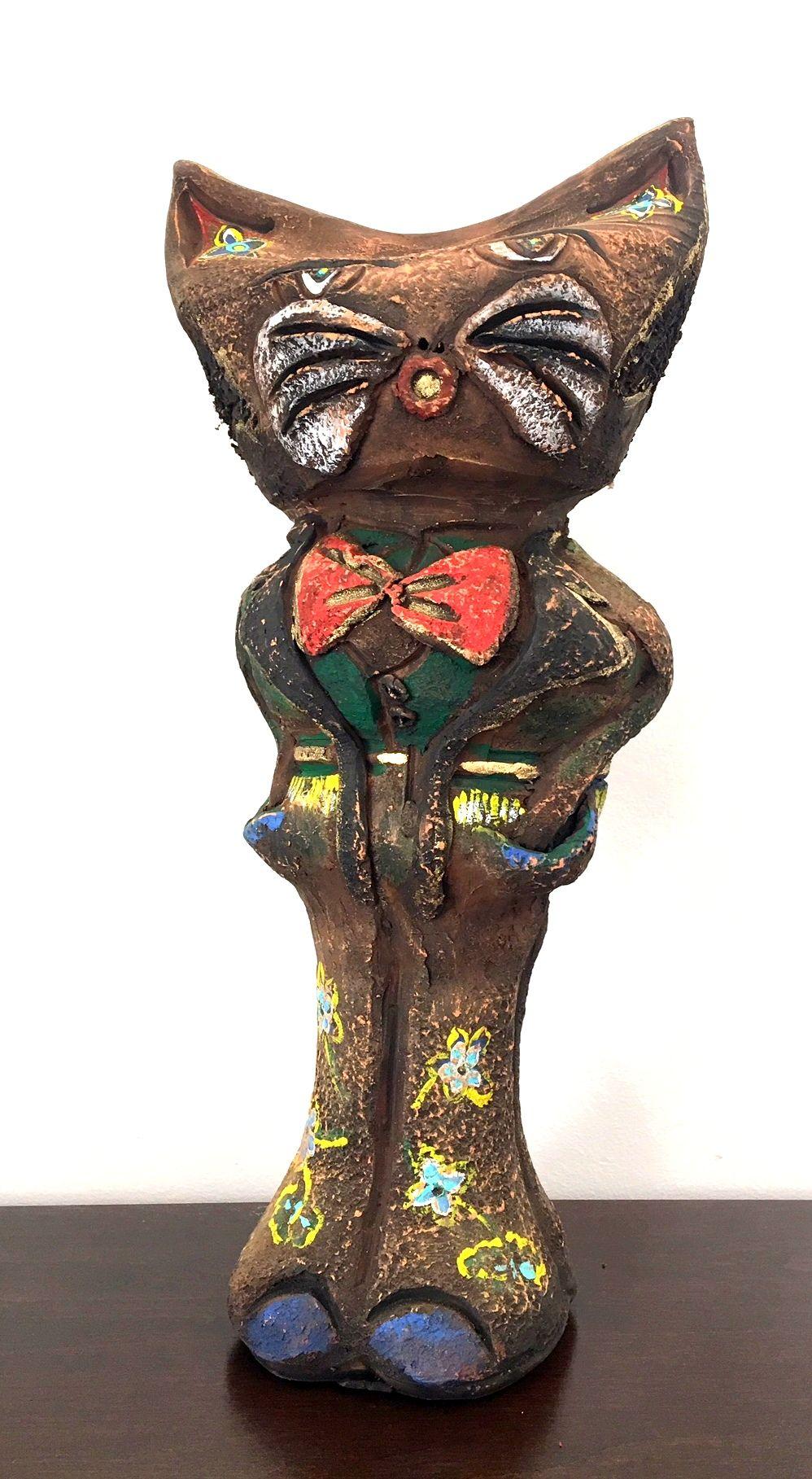 Macska szobor 2 : Kovácsoltvas farkú kerámia macska (vasmacska )