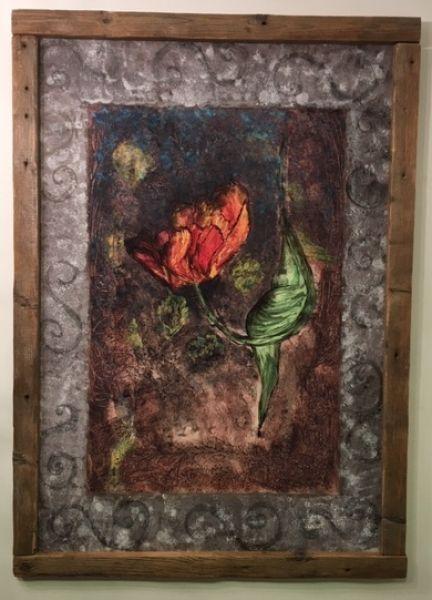 Antik virágos kép : Antikolt aquarell festmény karton merevítéssel merített papíron antik fa keretben csiszolt öregített technika