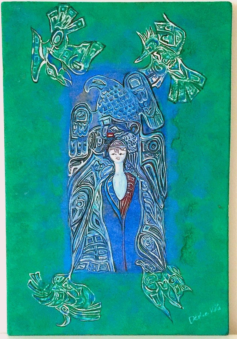 kék zöld falikép : koptatott antik falapra készűlt aquarell és olaj - akríl vegyes technika