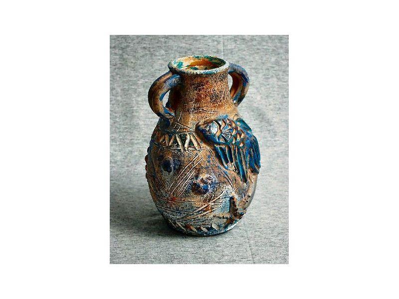 Leguános antik váza :