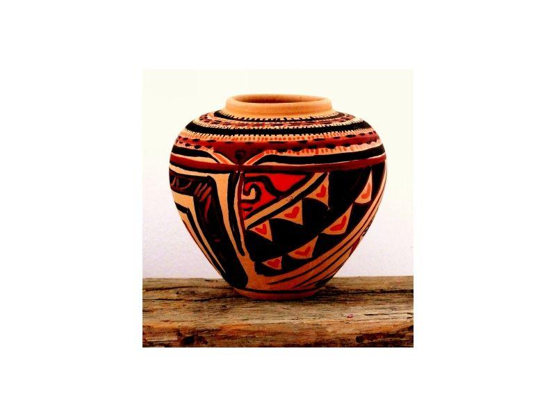 Terrakotta Azték mintás váza :
