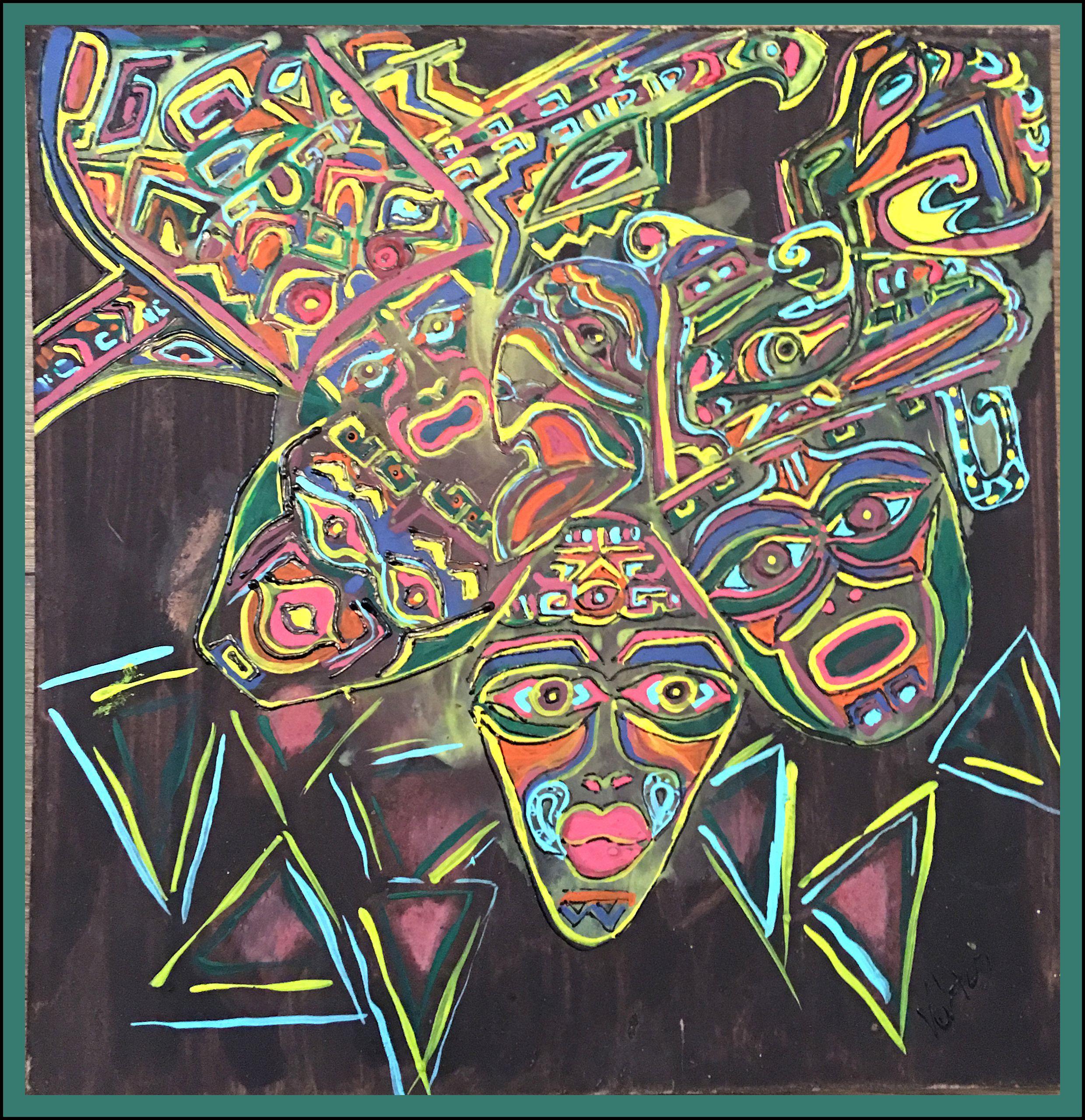 Indián maszk festmény :